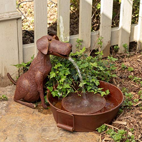 (Park Hill Collection Best Friend Dog Fountain Spitter with Pump is Great Decor for Patio, Deck and Home, Folk Art Inspired Metalwork, 23x13x13.25)