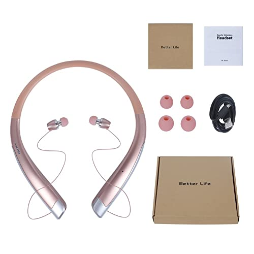 Wireless Running Headphones, AWEI Bluetooth 4.1 Headsets Stereo Earphones Wireless Sport Earbuds IPX4 Sweatproof Running In-ear Headsets CVC6.0 Microphone For IOS Android Support NFC Function (Glod)