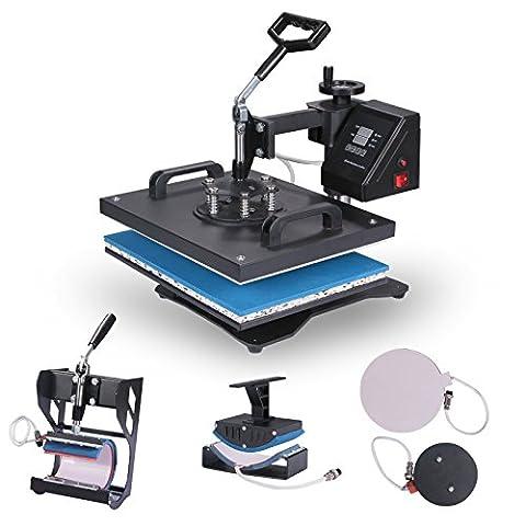 OrangeA Heat Press 5 in 1 Swing Away Heat Press Machine 1400W Hat Press Multifunction Hat Mug Plate Cap 15X12Inch Heat Platen (5 in 1 15 x (15 X 15 Power Heat Press)