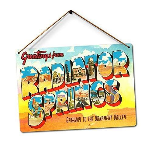TONEI Radiator Springs Twine Metal Wall Sign Plaque Art Inspirational - 8x12 inch
