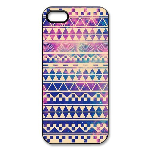 DESIGNHOUSE Hipstr Nebula & white Aztec Andes Tribal Pattern iPhone 5 5S Case, Best Durable Plastic Colorful Scrawl Aztec iPhone 5 5S Case