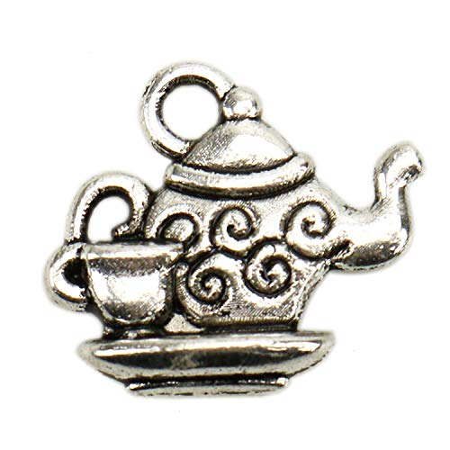 JETEHO 100 Pcs Teapot Cup Charms Pendants for Jewelry Making Crafting Necklace -