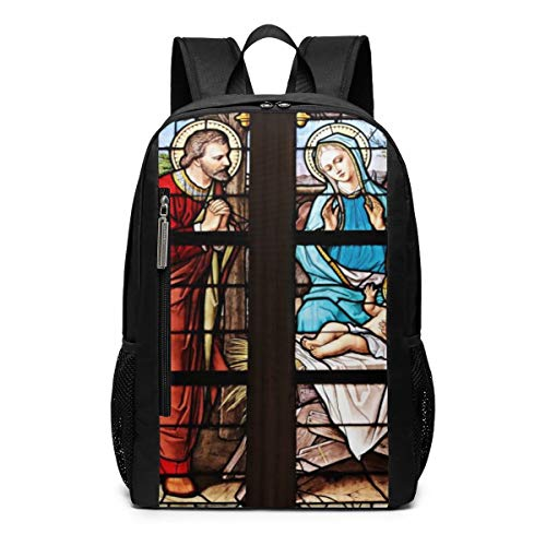 (CZZD Stained Glass Church Window Stained Glass Travel Laptop Backpack Schoolbags Men and Women On Campus)