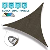 Coarbor 20'x20'x20' Sun Shade SaiL Triangle Wire Rope Hemmed All Edges Strong Double Stitched Seam Super Heavy Duty Perfect for Patio Deck Yard Garden-Brown