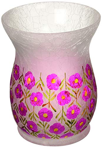 Pavilion Gift Company Hand Painted Floral Frosted Crackled Glass Large Jar Hurricane Candle Holder, 8 Inch