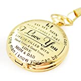 Perfect Gifts For Son - Engraved 'To My Son - Love Dad and Mom' Gift to Son | Mother to Son Gifts, Birthday/Graduation Present, Xmas Present with Black Gift Box Dad to son (I love you)