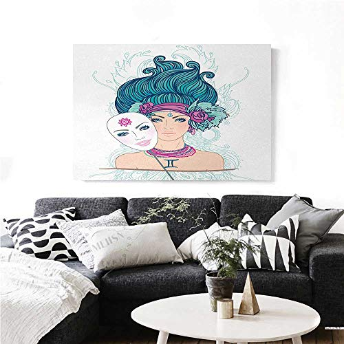 """homehot Zodiac Gemini Wall Art Canvas Prints The Twins of The Zodiac Theme Symmetrical Faces with Stars Cartoon Design Ready to Hang for Home Decorations Wall Decor 36""""x32"""" Multicolor"""