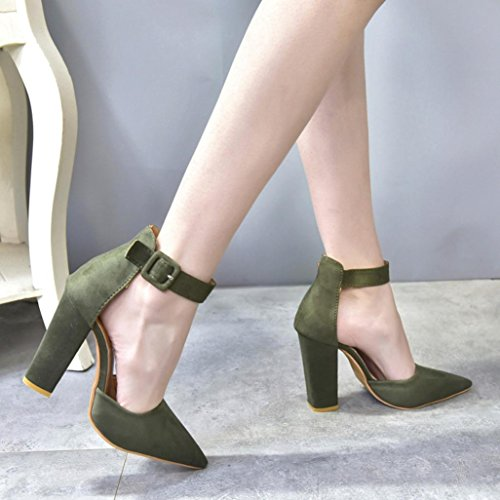Block Strap Party Ankle High Fashion Heels Ladies Single Buckle Green Women hunpta Shoes p84qn