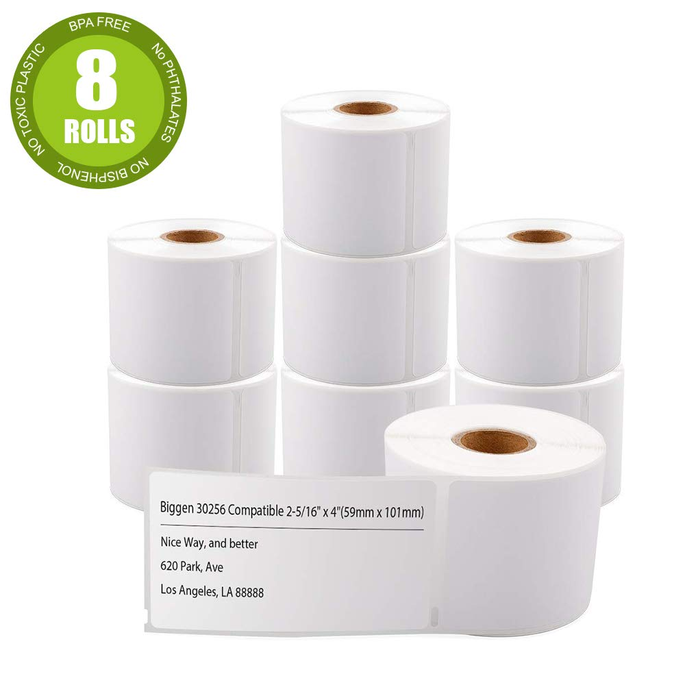 8 Rolls 30256 Dymo Compatible Standard Large Shipping Labels for Dymo LabelWriter 400 450 Duo Twin Turbo 4XL Printer,2-5/16'' x 4''(59mm x 102mm)