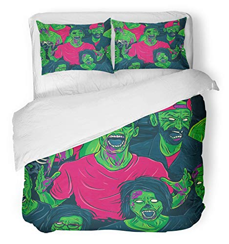 Emvency 3 Piece Duvet Cover Set Breathable Brushed Microfiber Fabric Colorful Halloween Zombie Walking Out Fun Retro Group Face Scary Monster Angry Bedding Set with 2 Pillow Covers King Size