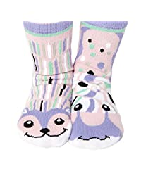 Childrens Mismatched Friends Socks Hedgehog and Snail With No-Skid Grips (Age 1-3)
