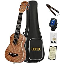 UBETA US-FM-063 Soprano Ukulele Exotic Mahogany Top,Back and Sides (6 in 1)Kit: Gig bag, clip-on tuner, aquila strings, picks,card and strap