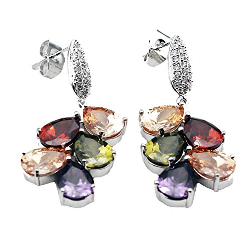 Pink Topaz Garnet & Earrings (Classic Multi Gemstones Silver Sets, Amethyst Garnet Morganite Peridot (Earring))