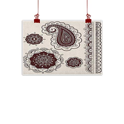 Anyangeight Fabric Cloth Rolled Henna,Intricate Hand Drawn Tattoo Paisley Doodle Eastern Culture Inspired Design, Dark Brown Cream 24