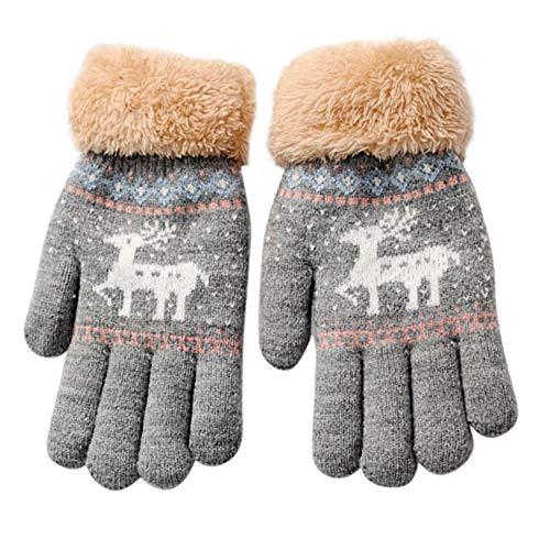 WILLTOO Christmas Costume Children Elk Print Winter Warm Thicken Gloves for Girls&Boys]()