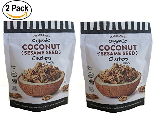 Trader Joe's Organic Coconut Sesame Seed Clusters (2 pack) - Crunchy Coconut Clusters With Black & White Sesame Seeds. -