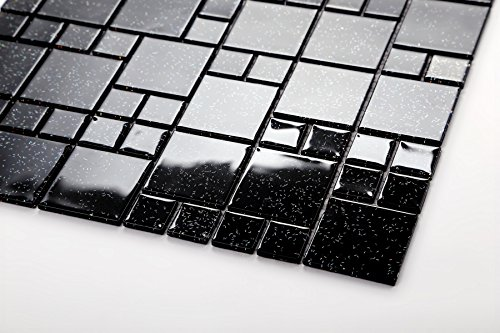 Vetro mosaico in 2 misure nero opaco con glitter multicolore