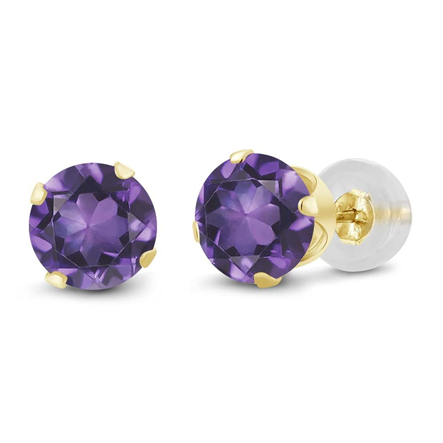 1.50 Ct Round Amethyst 10K Yellow Gold Stud Earrings