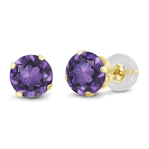 Gem Stone King 1.50 Ct Round Amethyst 10K Yellow Gold Stud Earrings