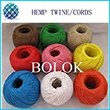 FINCOS 12 Color 100% Hemp Cord (7pcs/lot)100m/ball,Waxed Hemp Twine, Hemp Twine Cord Used in All Kinds Packing by