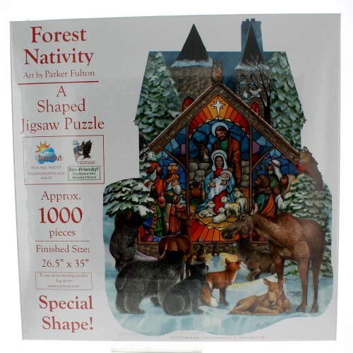 SunsOut Forest Nativity a 1000 Piece Shaped Jigsaw Puzzle