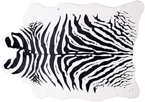 MustMat Zebra Print Rug Black and White Faux Animal Rug Jungle Safari Theme Decor for Room Approx 4.5 x 6.2