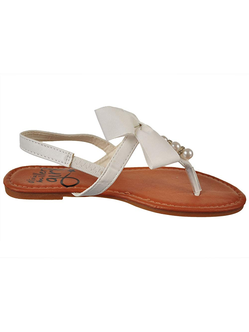 Olivia Miller OMGirl Girls Lilian White Polyurethane and Cotton Sandals