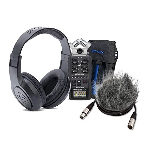 Zoom H6 Handy Recorder Bundle with Zoom PCH-6 Case, Headphones, WSU-1 Windscreen, SD Card, 4 XLR Cab (Zoom Hs 1 Hot Shoe Mount Adapter)