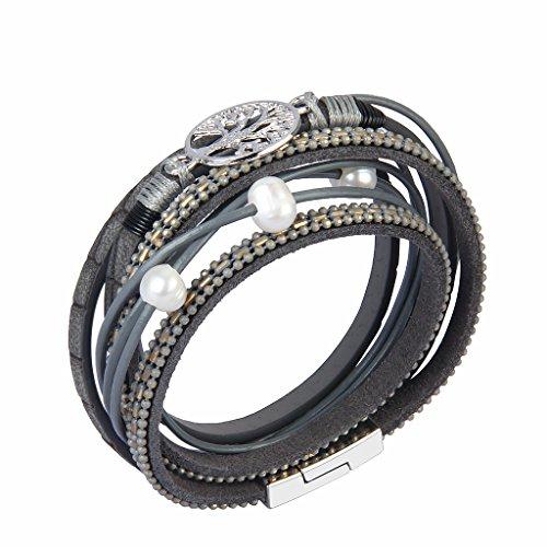JOYMIAO Gray Genuine Leather Bracelet Tree of Life for Women Handmade Jewelry Braid Rope Cuff Bangle with Magnet Buckle by JOYMIAO (Image #2)