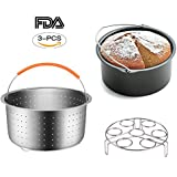 Set of 3 Instant Pot Accessories 6&8 Quart Steamer Basket, Fits Instant Pot Pressure Cooker, Great for Steaming Vegetables Fruits Eggs and Soup Food