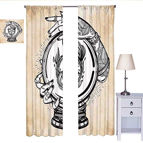 MartinDecor Occult Country Curtain Illustration of Medium Crystal Ball for Mystery with Tattooed Hands Future Psychic soundproof Curtain Tan Black W72 x L108 (Best Psychic Pokemon Crystal)