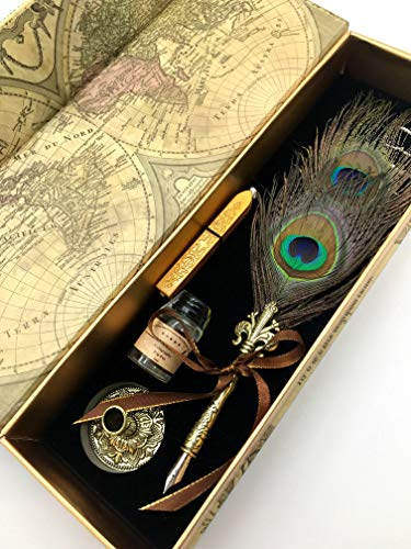 W.D Calligraphy Pen Set | Feather Pen Antique Feather Writing Goose Pen Gold Pen drywith 5 Extra Nibs | Bottled Dip Ink & Elegant Storage Case | Best Holiday Gift (Blue Peacock) from W.D