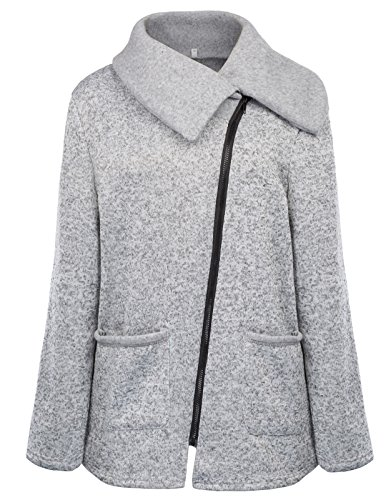 Grace Karin Ladies Jackets Coats Outerwear Long Wintershirt XL Light Grey