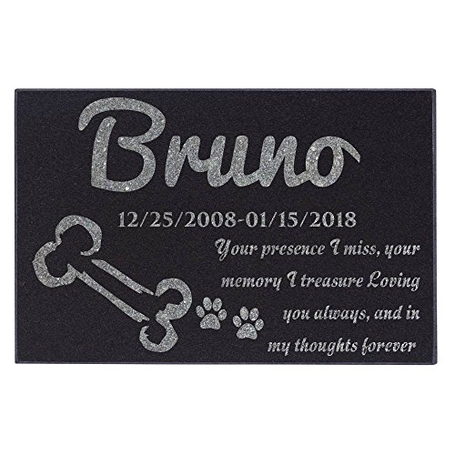 Personalized Pet Memorial Stone Customized Memorial Stone for Loved One's Sympathy Gift - Indoor-Outdoor Headstone Granit Pet Memorial Stone Personalized Dog/Cat Grave Marker 12