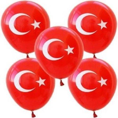100 Pcs Balloons,turkish Flag,100 Pcs Ballon Sticks &100pcs Balloon Holders