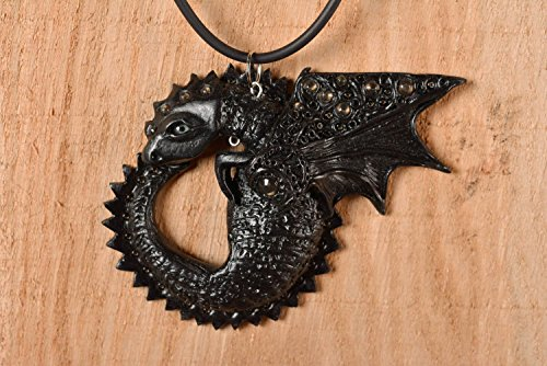 - Handmade Unique Polymer Clay Necklace Designer Dragon Pendant Present Accessory