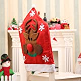 AstiVita Christmas Chair Cover Set (3D Reindeer Design) - 4 Pack