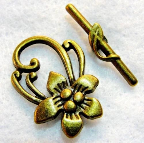 25Sets WHOLESALE Antique Bronze Large FLOWER Toggle Clasps Q0274 DIY Crafting Key Chain Bracelet Necklace Îewelry Accessories (Cross Toggle Bracelet)