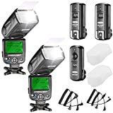 Neewer NW620 Manual Flash Speedlite Kit for Canon Nikon Panasonic Olympus Pentax and Other DSLR Cameras, Includes:(2)NW620 GN58 Flash, 2.4G Wireless Trigger,(2)Hard Diffuser
