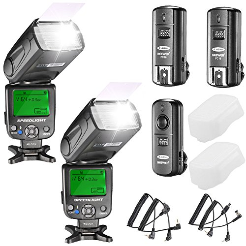 - Neewer NW620 Manual Flash Speedlite Kit for Canon Nikon Olympus and Other DSLR Cameras:(2) NW620 GN58 Flash,2.4G Wireless Trigger,(2) Hard Diffuser