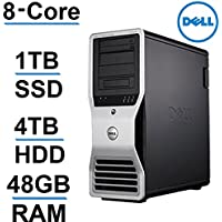 Windows 10 Dell Computer | 8 CORE COMPUTER with 16 Hyperthreads | Precision T7500 |2X Intel QUAD CORE Xeon up to 3.33GHz|*NEW* 1TB SSD + 4TB HDD|48GB RAM - 4 Monitor Capable - USB 3.0 - Refurbished