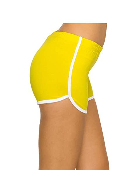 3b2cdaa385 Athletic Running Exercise Gym Yoga Booty Dolphin Running Shorts for Women B  Yellow S