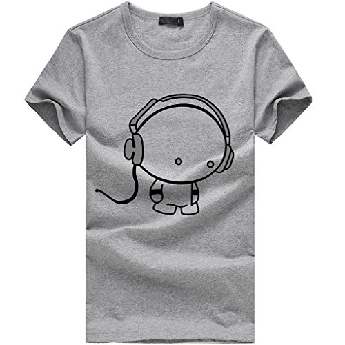 Mens Shirt,Haoricu 2017 Clearance Fashion Men Boy Cotton Summer Short Sleeve T Shirt (M, Gray)