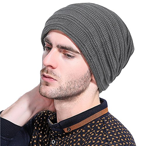 Thick Warm Outdoor color punto Simple Solid Unisexo Beanie De Gray Hat Gorra Invierno Slouchy Baggy Zhuhaitf Lined Adult wxHXUc1R