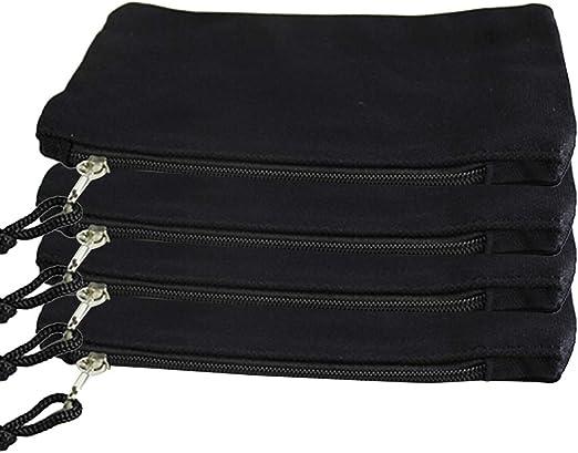 SUPVOX 4-Pack Bolsas de lona negras con cremallera Bolsa de tela ...