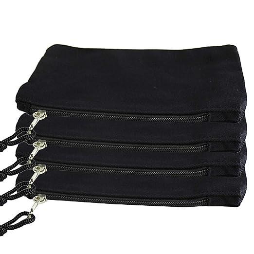 SUPVOX 4-Pack Bolsas de lona negras con cremallera Bolsa de ...