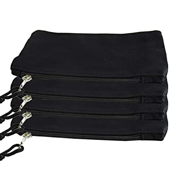 SUPVOX 4-Pack Bolsas de lona negras con cremallera Bolsa ...