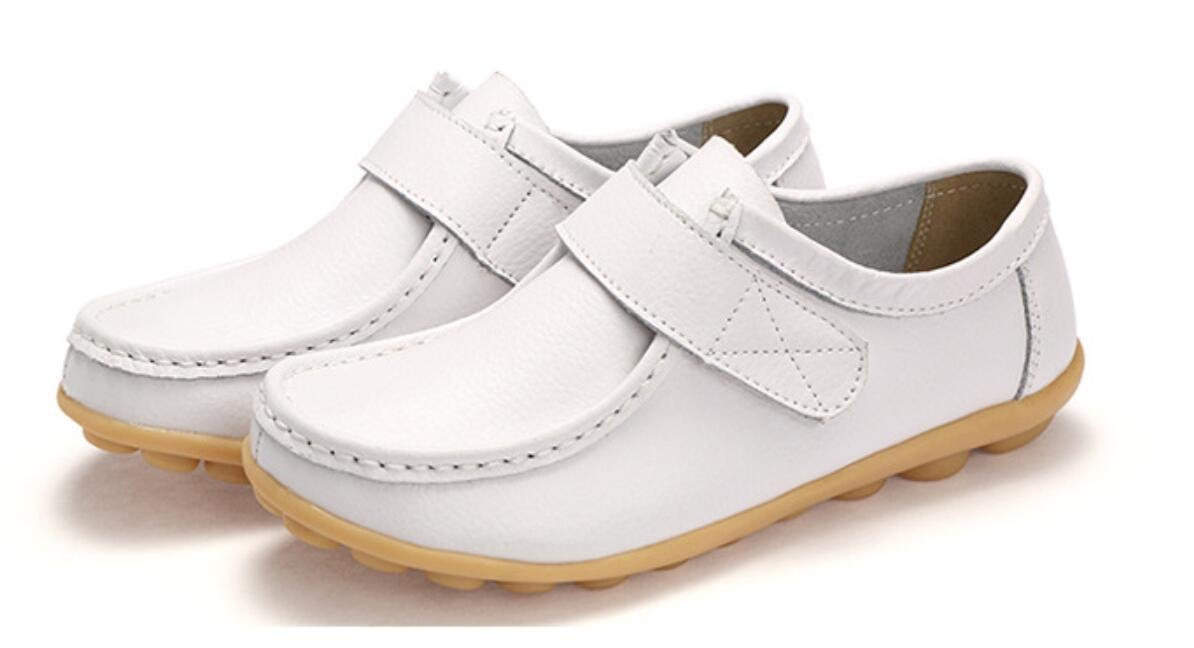ACE SHOCK Loafer Flats Shoes Women, Casual Leather Work Pumps 5 Colors Size 5.5-9 (US 8.5, White)