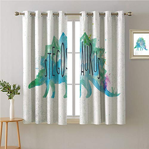 - Jinguizi Dinosaur Silhouette Grommets Bedroom/Living,Colorful Sweet Watercolor Painting of Stegosaurus Breed Extinct Animal,Sunbeams Isolated Darkening Curtains,55W x 63L