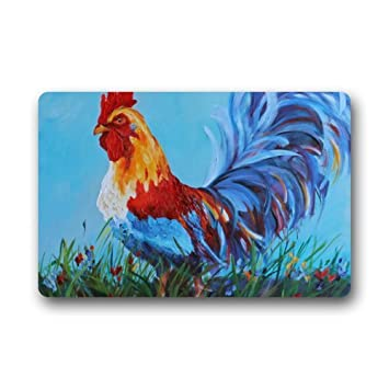 Charmant Beautiful Rooster Art Non Slip Doormat,Floor Mat Door Mat Rug Indoor/Outdoor